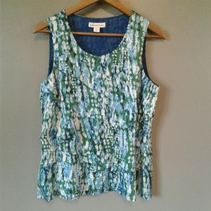 COLDWATER CREEK Ruffled Front Sleeveless Blouse